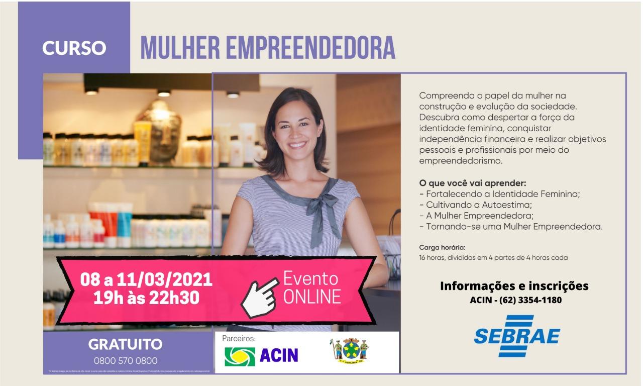 Curso – Mulher Empreendedora – GRATUITO via @sebraegoias