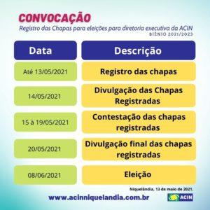Errata Convocação registro de chapas para eleição da diretoria executiva da ACIN 1