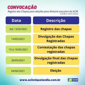 Convocação registro de chapas para eleição da diretoria executiva da ACIN 1