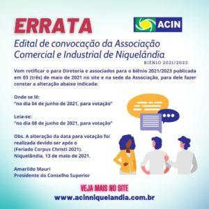 Errata Convocação registro de chapas para eleição da diretoria executiva da ACIN 2